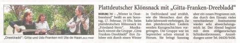 Vorankündigung, Jeversches Wochenblatt, 15.02.2013