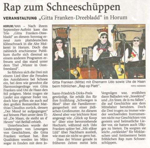 Bericht über das Konzert, Wilhelmshavener Zeitung, 19.02.2013