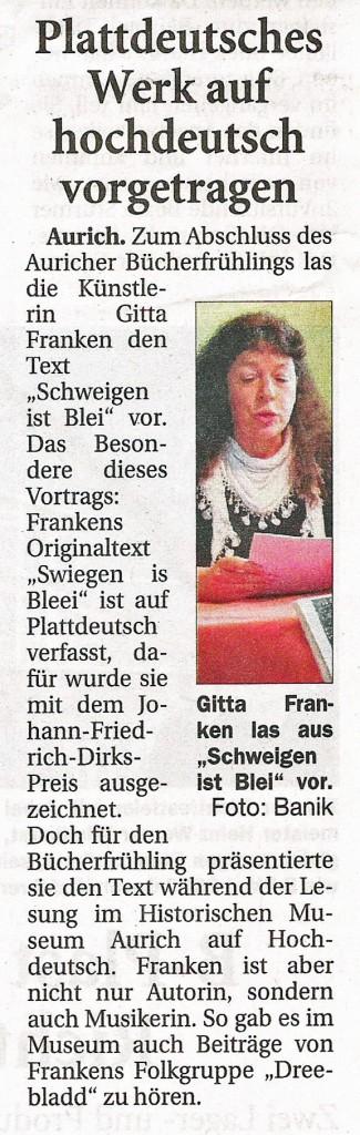 Ostfriesische Nachrichten, 19.05.2014