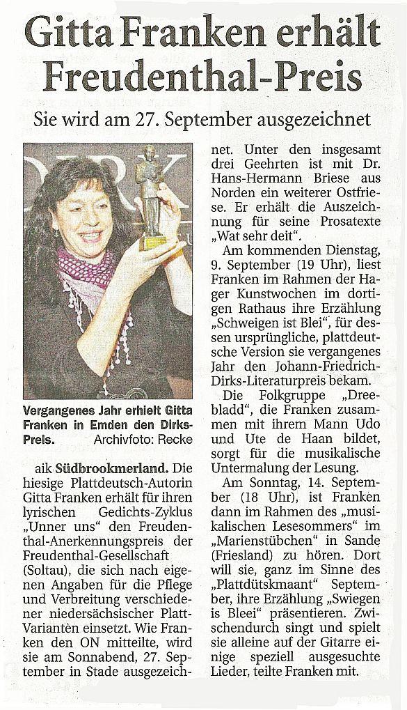 Ostfr. Nachrichten, 04.09.2014