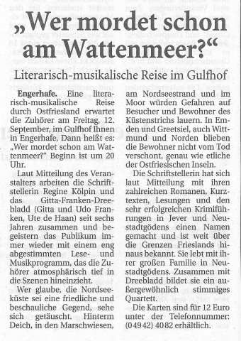 Ostfriesische Nachrichten, 27.08.2014