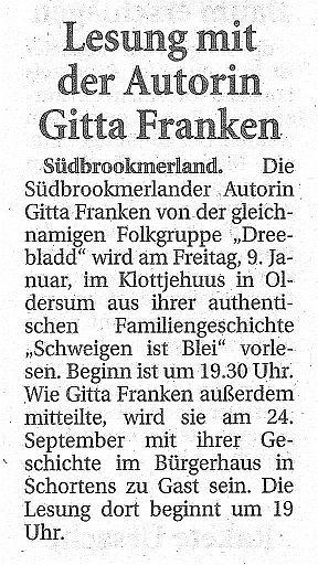 Ostfriesische Nachrichten, 08.01.2015
