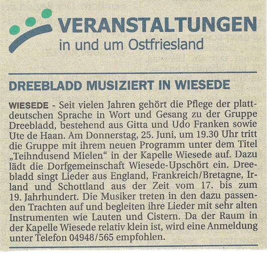 Ostfriesen Zeitung, 22.06.2015