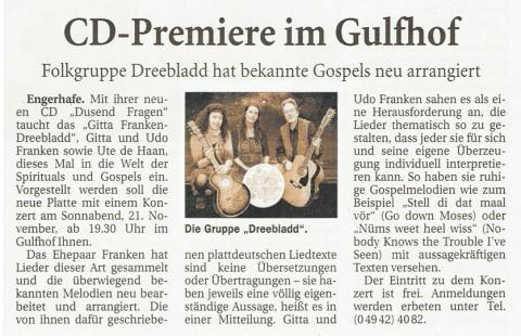 Ostfriesische Nachrichten, 09.11.2015