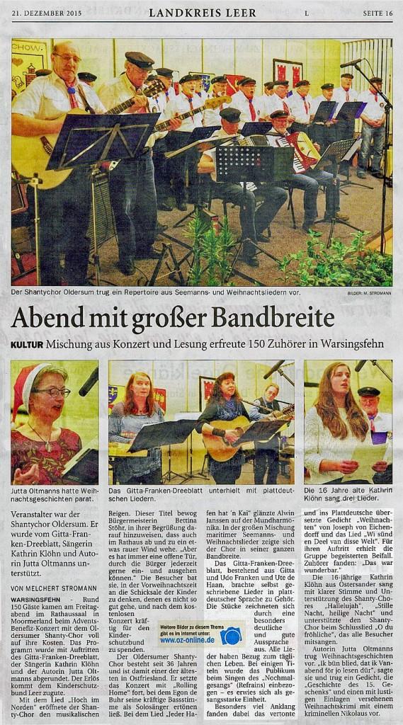 Ostfriesen Zeitung, 21.12.2015