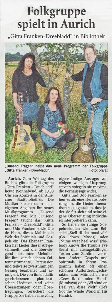 Ostfriesische Nachrichten, 23.04.2016
