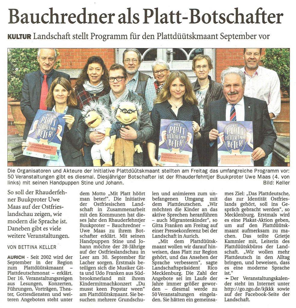 Ostfriesen-Zeitung, 01.09.2018