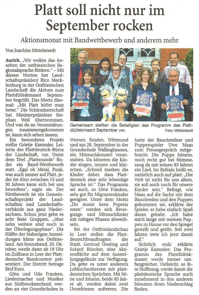 Ostfriesische Nachrichten, 01.09.2018