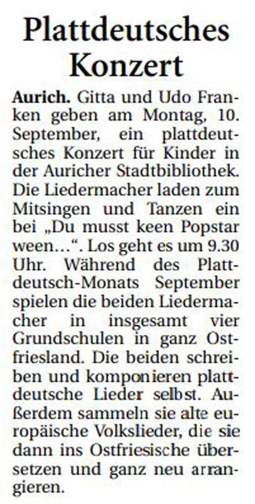 Ostfriesische Nachrichten, 30.08.2018